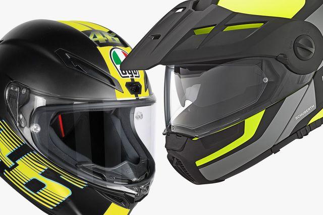 two motorcycle helmets