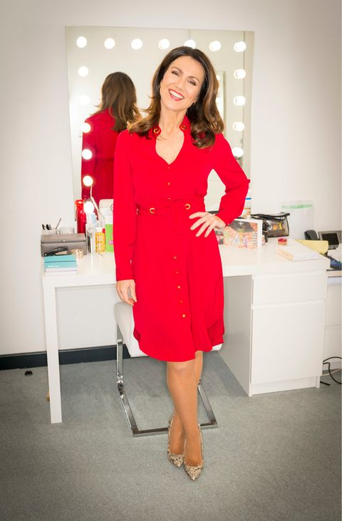 73284517850 We re in love with Susanna Reid s slinky red statement dress
