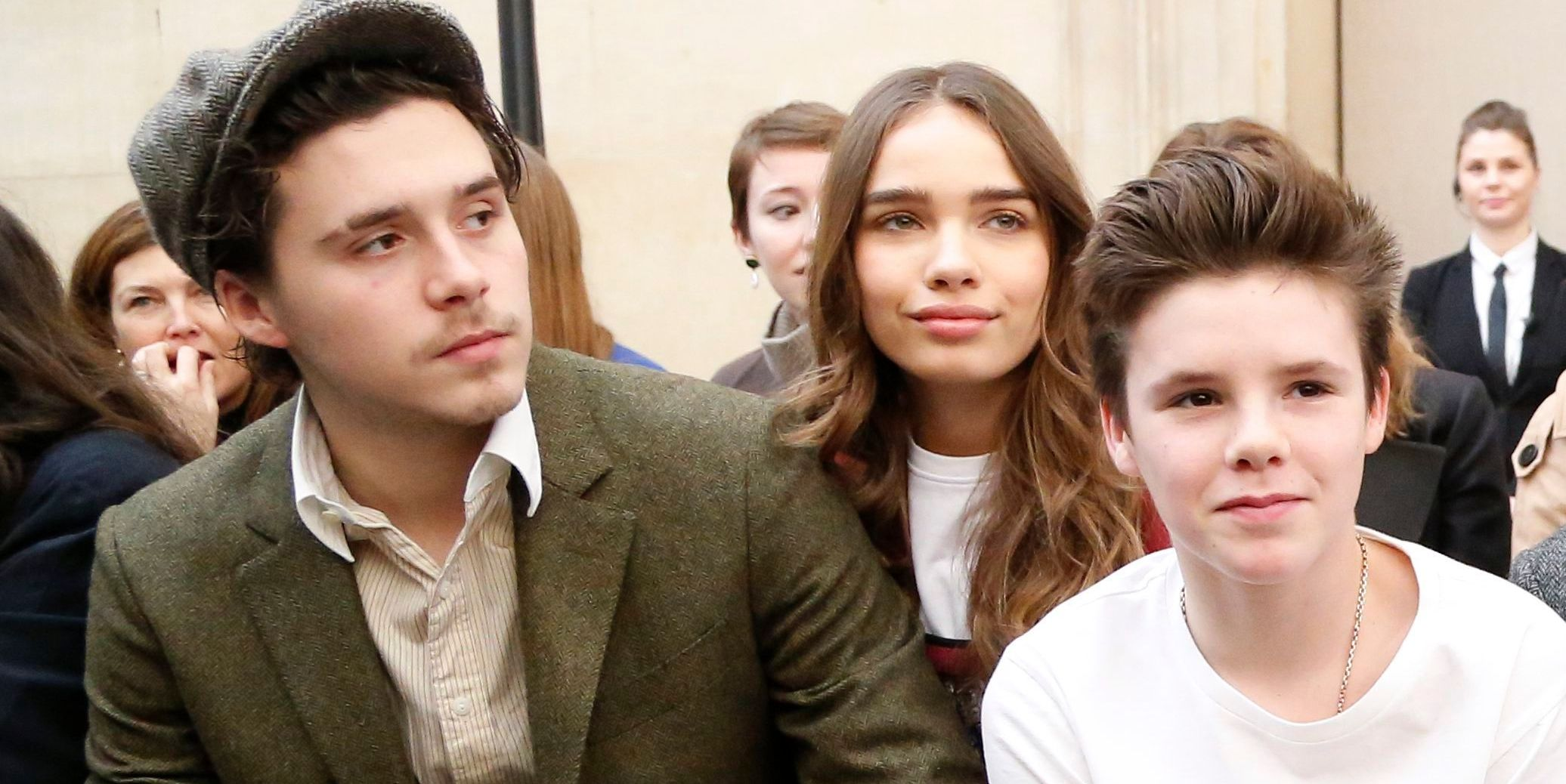 Hana Cross sits front with the Beckhams At London Fashion Week to watch Victoria Beckham's AW19 show
