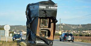 Broken traffic camera in France