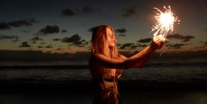 Sparkler at the sea