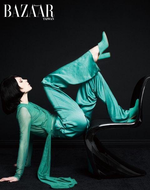 Green, Sitting, Leg, Dance, Shoe, Performance, Photo shoot,