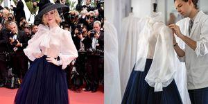 艾兒芬妮(Elle Fanning )在2019坎城紅毯一身優雅Dior 高級訂製系列禮服重現new look