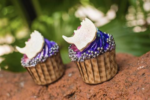 Ice cream cone, Purple, Cupcake, Baking cup, Icing, Dessert, Violet, Buttercream, Sweetness, Cream,