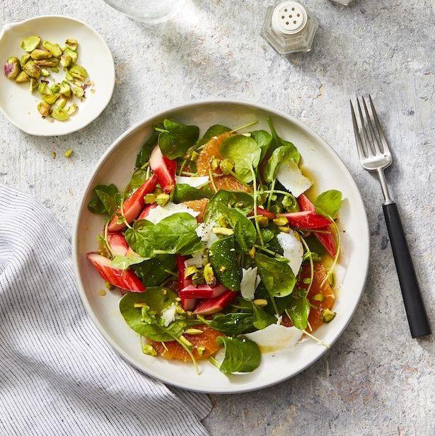 rhubarb and citrus salad with black pepper vinaigrette