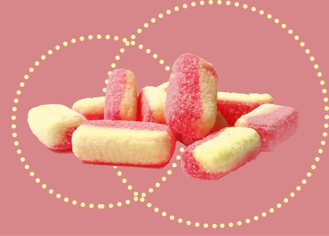 pink and yellow, sugar coated, old fashioned rhubarb and custard sweets