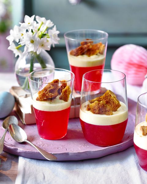 rhubarb and jelly custard with ginger honeycomb