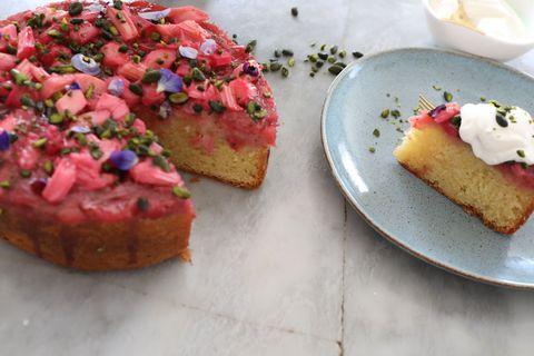 Rhubarb and Elderflower Upside down Cake