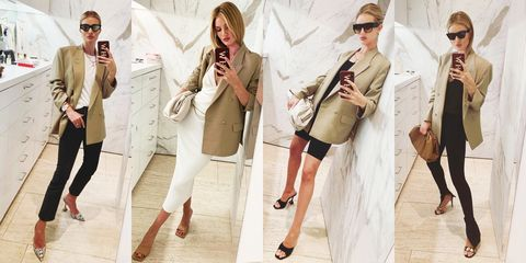 Clothing, Fashion model, Fashion, Shoulder, Blazer, Outerwear, Coat, Street fashion, Fashion design, Beige,