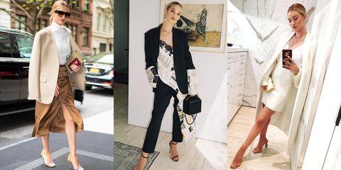 Clothing, White, Shoulder, Fashion model, Fashion, Dress, Footwear, Outerwear, Street fashion, Blazer,
