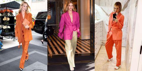 Clothing, Orange, Pink, Fashion, Fashion model, Outerwear, Blazer, Footwear, Shoulder, Leg,