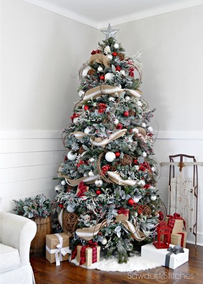 ribbon christmas tree ideas - Photos Of Christmas Trees Decorated With Ribbon