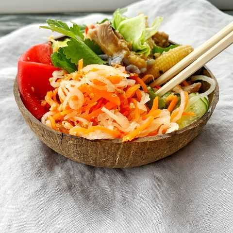 Rice bowl with vegetables and seafood
