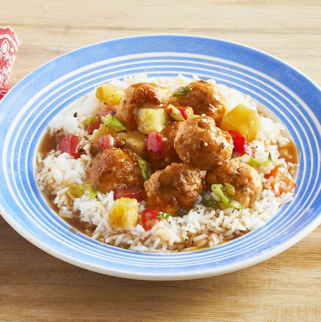 meatballs and rice in blue bowl