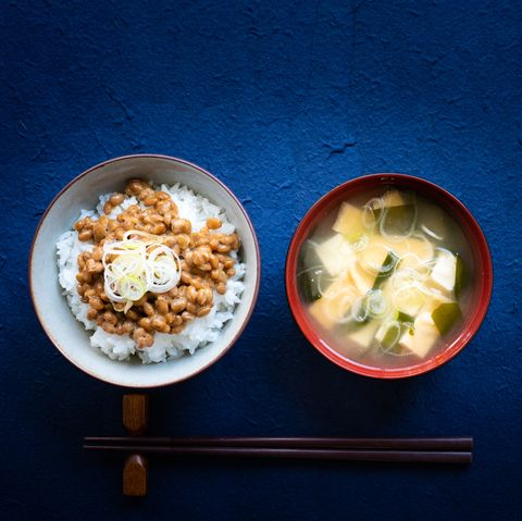 rice with Natto and miso soup. typical Japanese breakfast