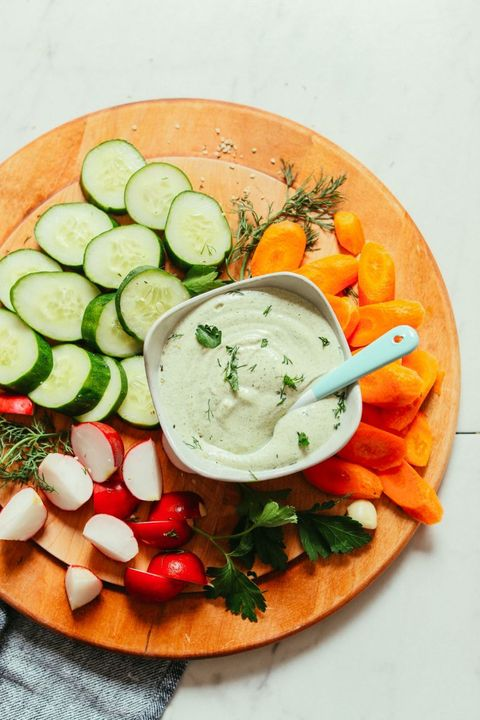 dip with many vegetables