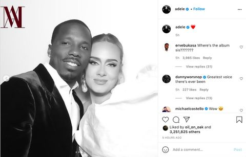 adele poses with rich paul