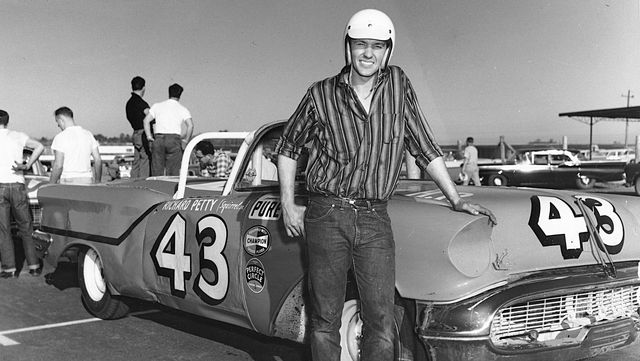richard petty with his 1957 oldsmobile