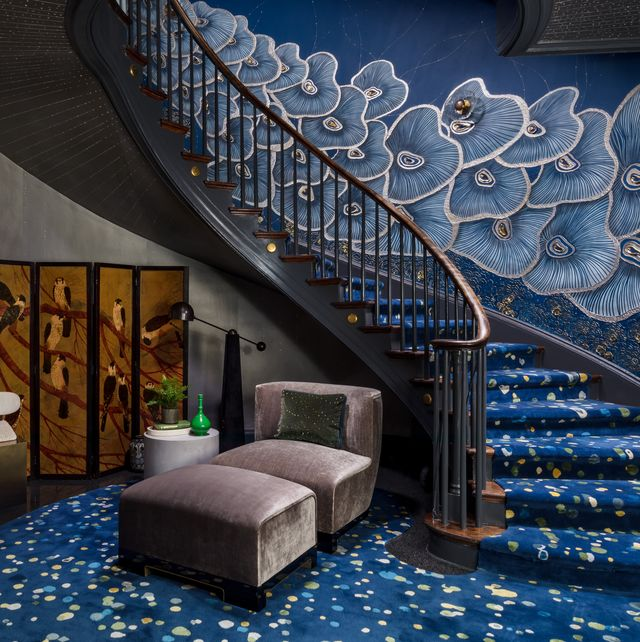 Blue, Stairs, Architecture, Room, Interior design, Building, Lobby, Design, House, Ceiling,