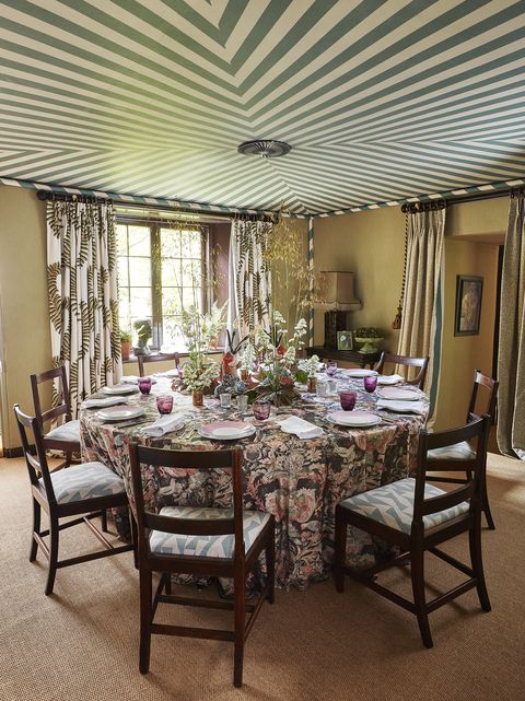 the illusion of a tented ceiling in a dining room with a custom trompe l'oeil treatment complete with candy striped trim and corner poles