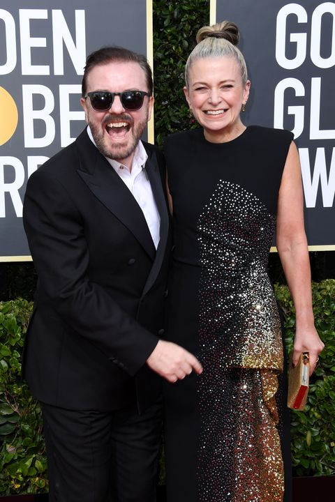 77th Annual Golden Globe Awards - ArrivalsRicky Gervais (L) and Jane Fallon attend the 77th Annual Golden Globe Awards at The Beverly Hilton Hotel on January 05, 2020