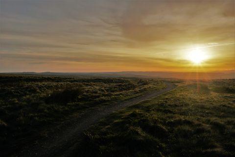 ridge crossing at sunset