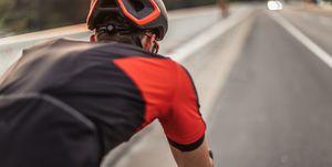 Riding a racing bicycle