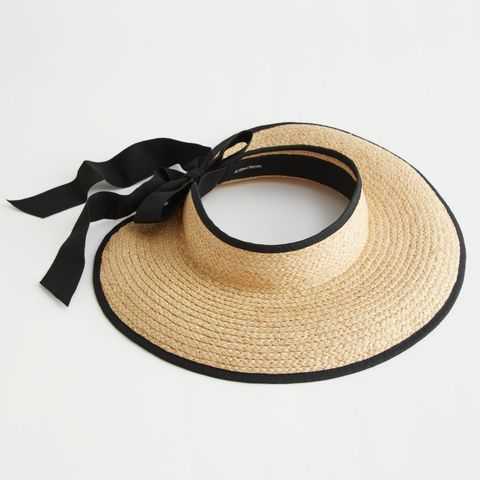rieten visor hoed met zwarte strik van other stories