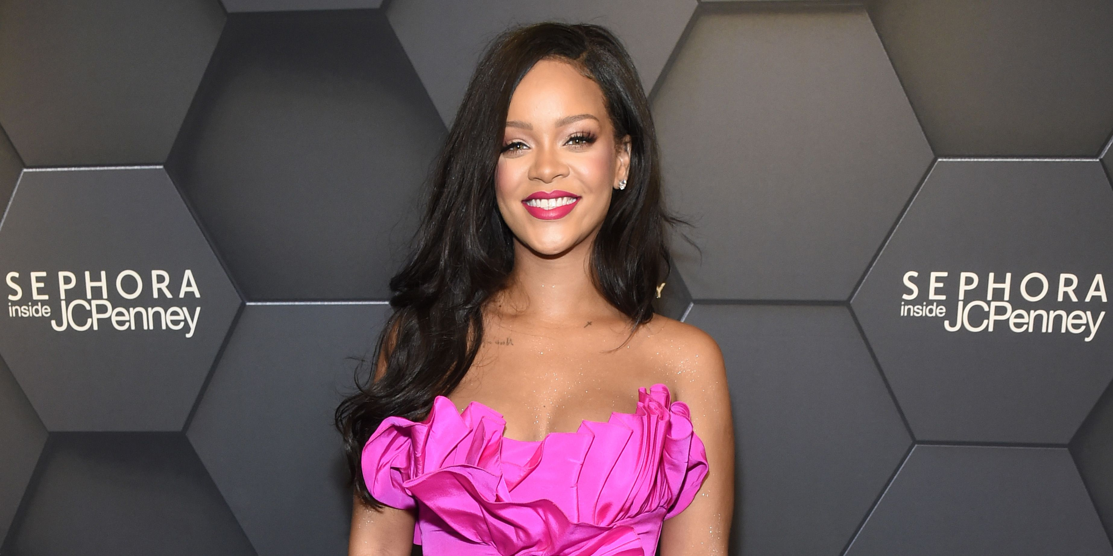 Rihanna Just Celebrated Fenty Beautys First Birthday In A Show Stopping Fuchsia Gown