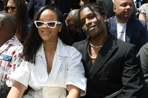 rihanna and aap rocky sitting front row at louis vuitton's menswear paris fashion week springsummer 2019 show