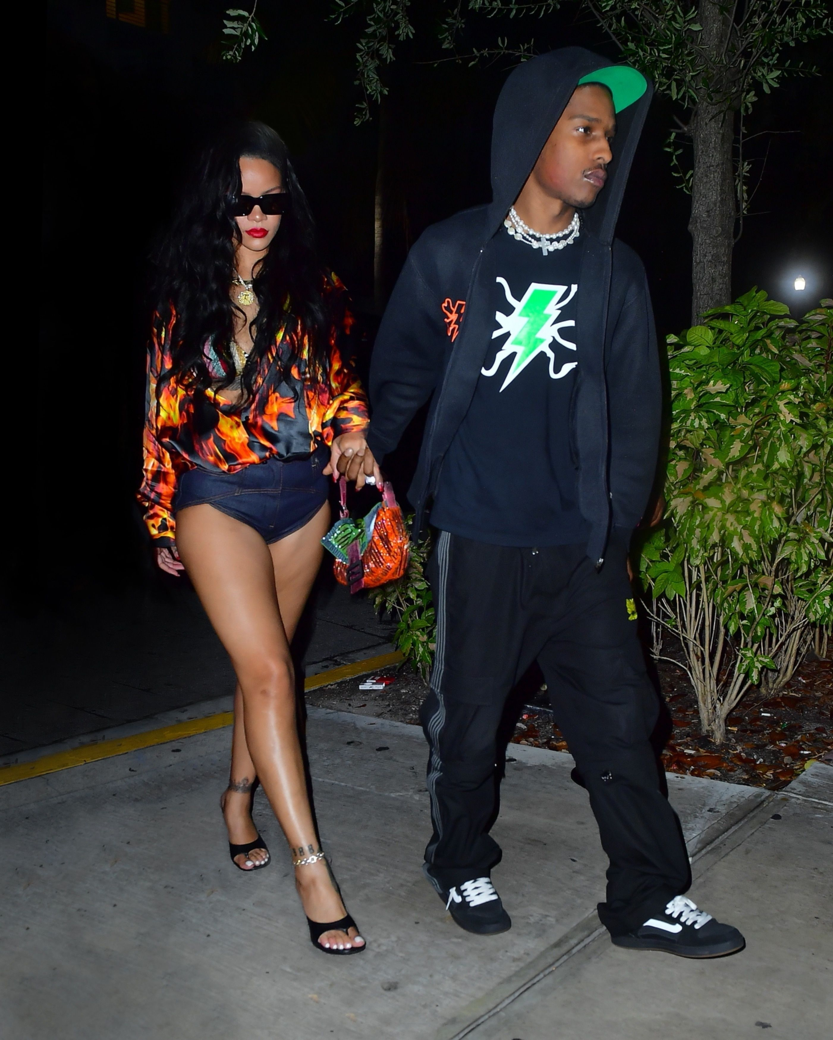 Rihanna Literally Embodied Hot Girl Summer in an Open Flame Top and Hot Pants on A$AP Rocky Date