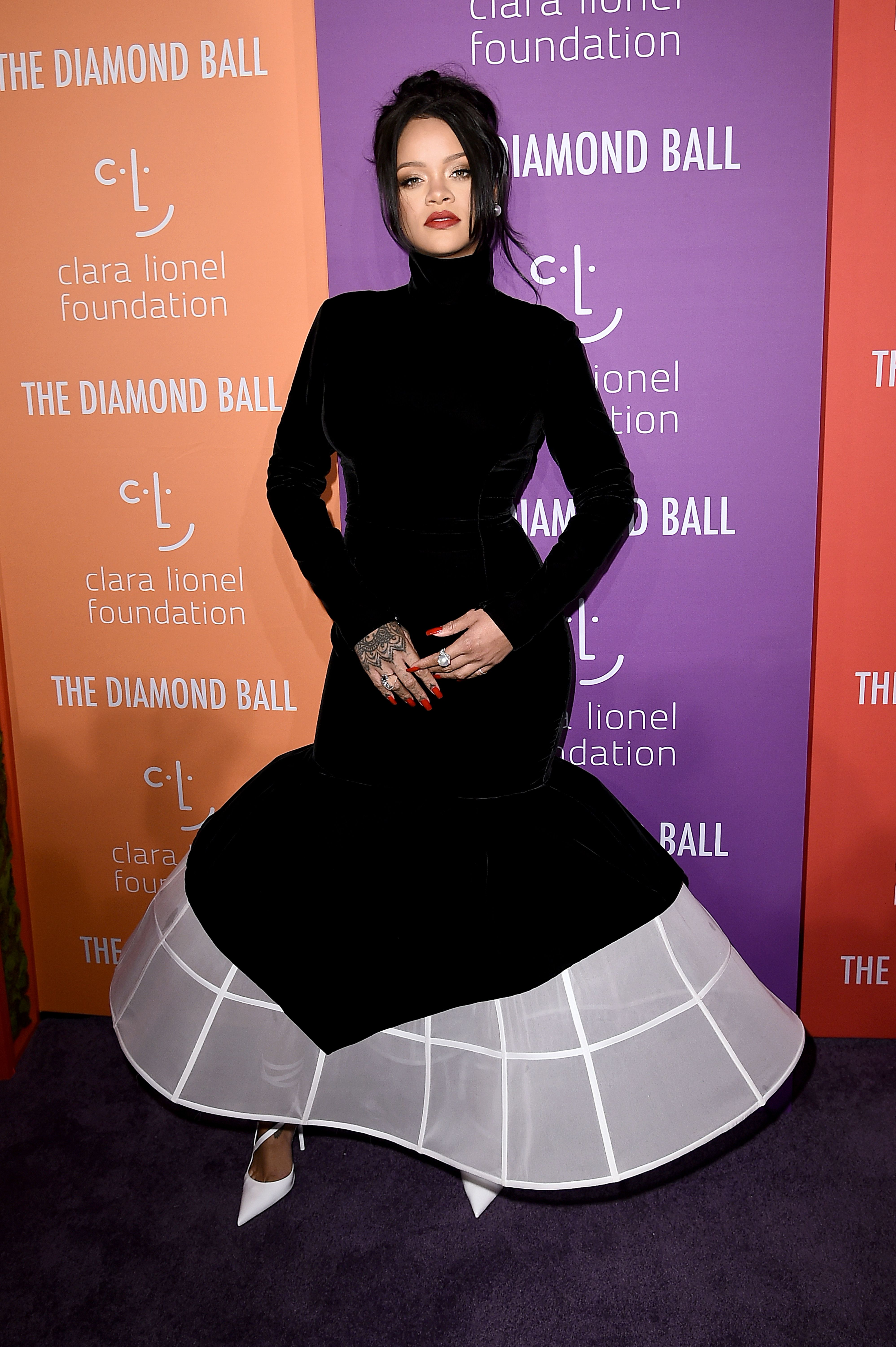 Rihanna Stunned in a Black and White Evening Gown at Her Diamond Ball