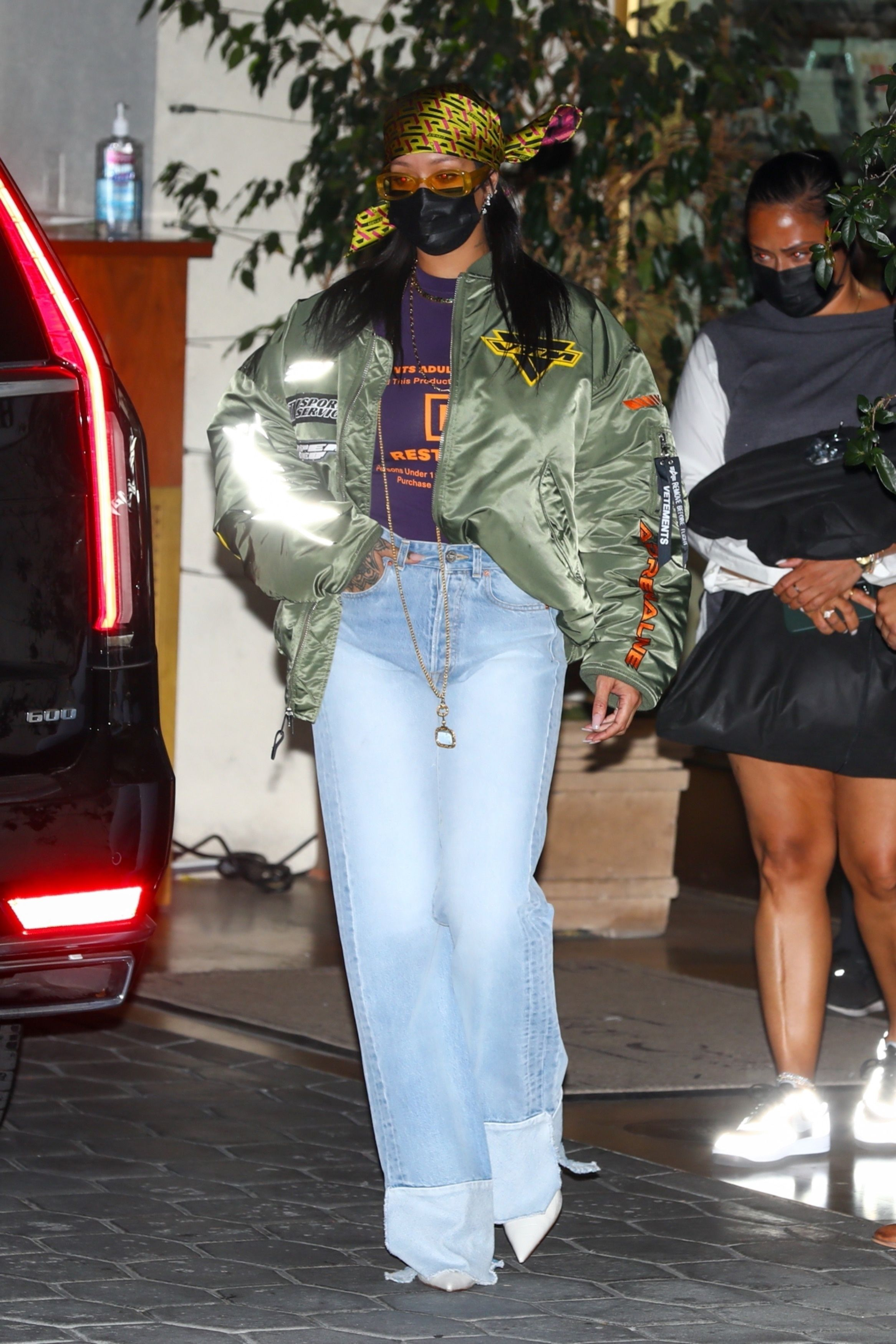 Rihanna Dressed Casually for an Oscars After Party in a Vetements Jacket, T-Shirt, and Jeans