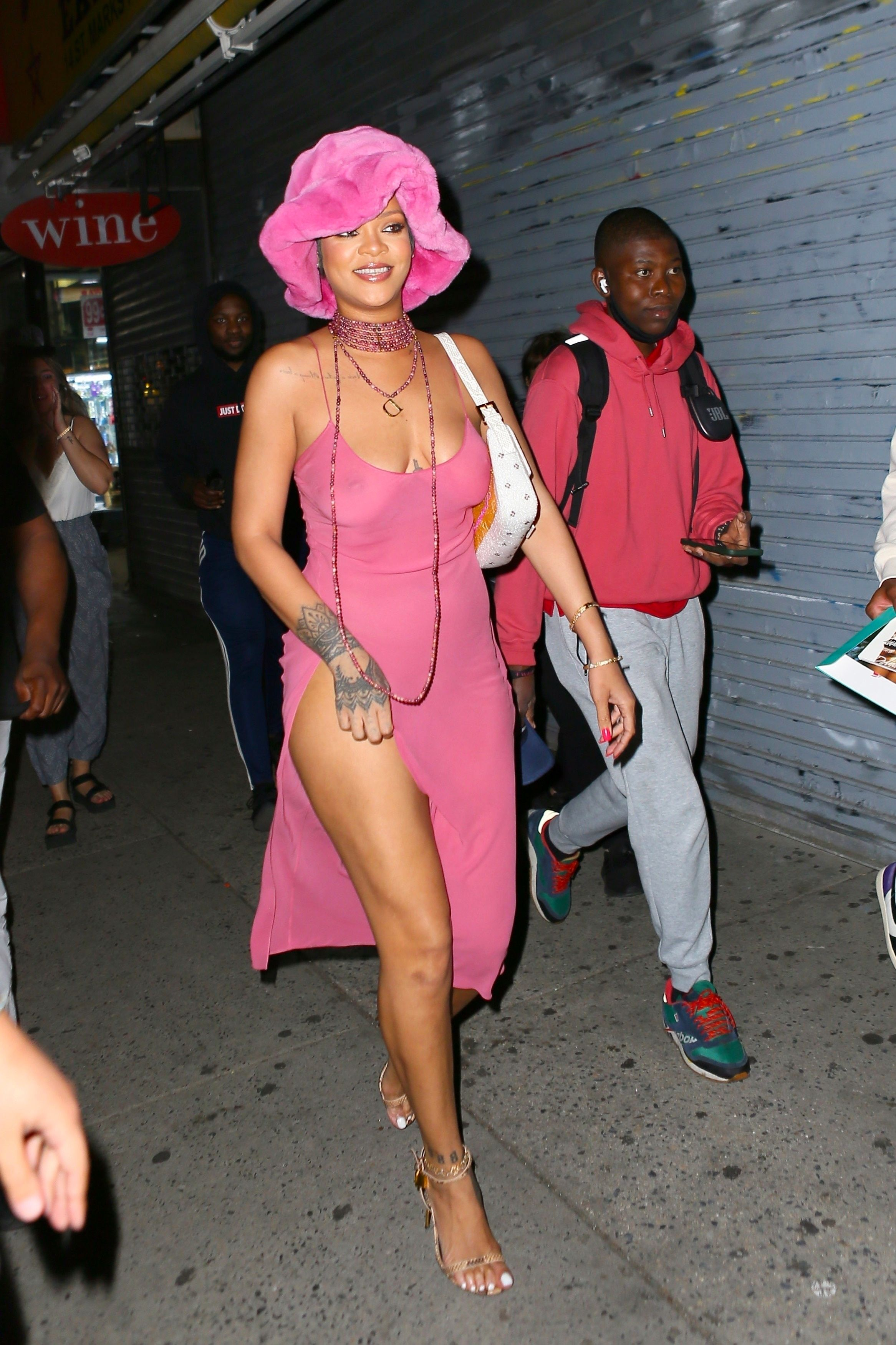 Rihanna Wore a Pink Thigh-High Leg Slit Dress for a Kissing-Filled Date Night With A$AP Rocky