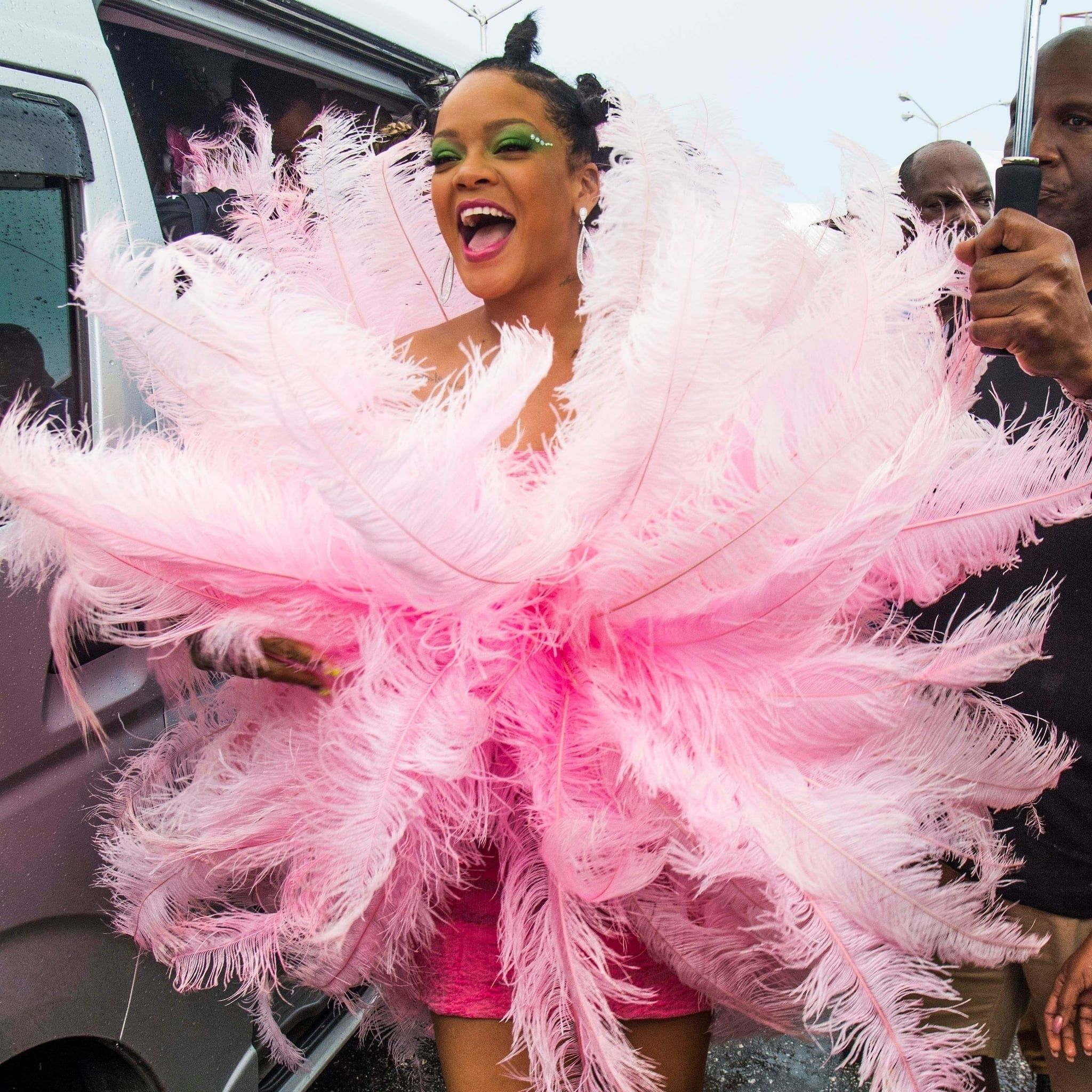 Rihanna Returns to Barbados' Carnival in a Full Flock of Feathers