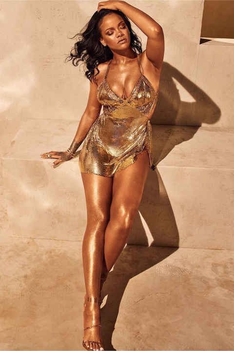 rihanna gold dress