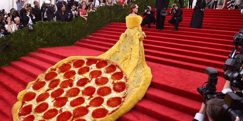 rihanna pizza dress 1 1493411219?crop=1.00xw 1.00xh;00&resize=768 * best met gala memes of all time funny met gala memes