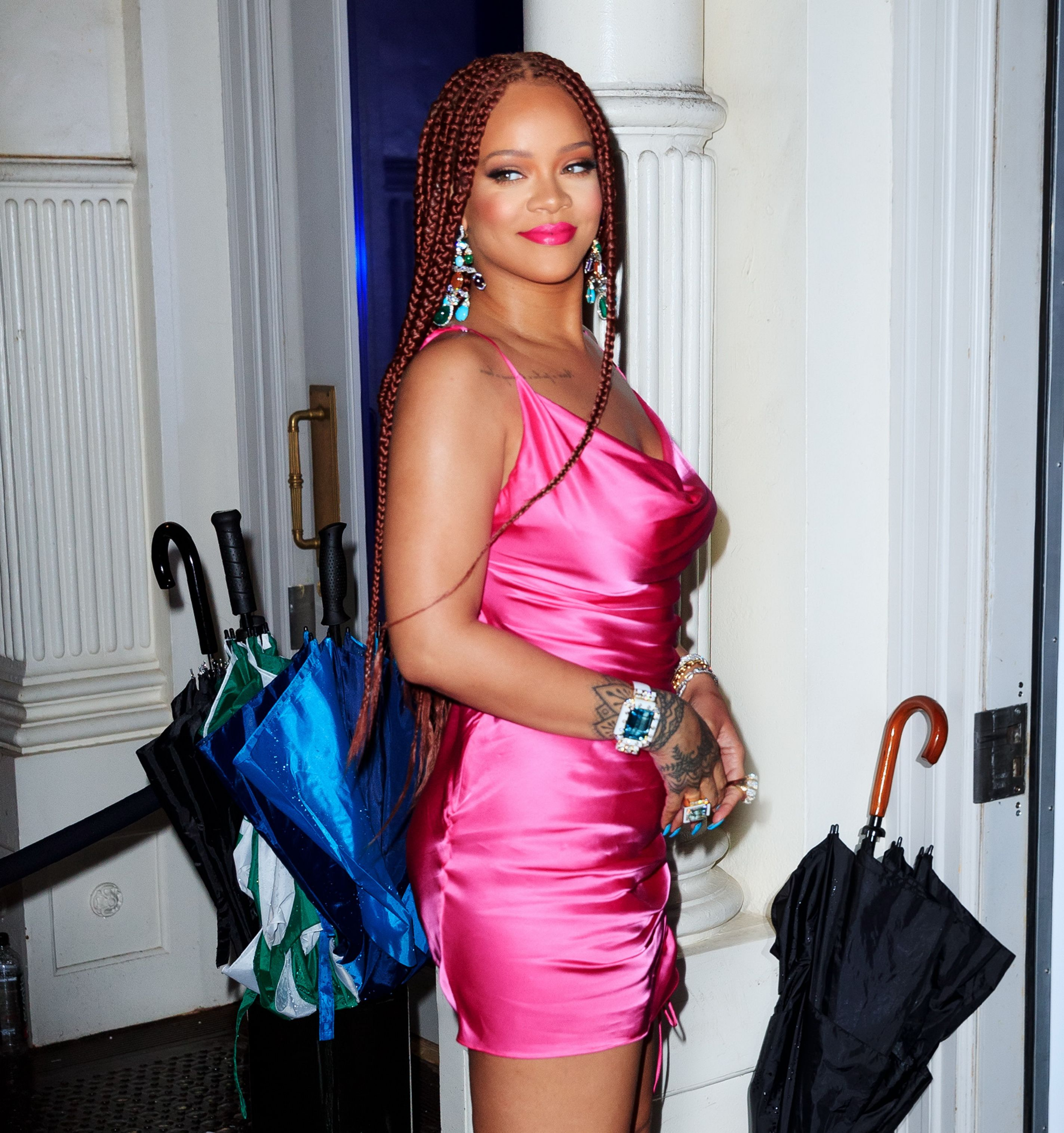 Rihanna Celebrated Her Fenty Pop-Up in an Excellent Pink Mini Party Dress