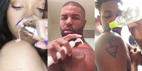 cheap for discount 026fd 2edd0 Men Recreate Rihanna's Fenty Beauty Body Lava Video ...