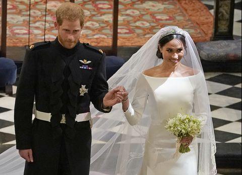 Prince Harry Marries Ms. Meghan Markle - Windsor Castle - Meghan holds bridal bouquet