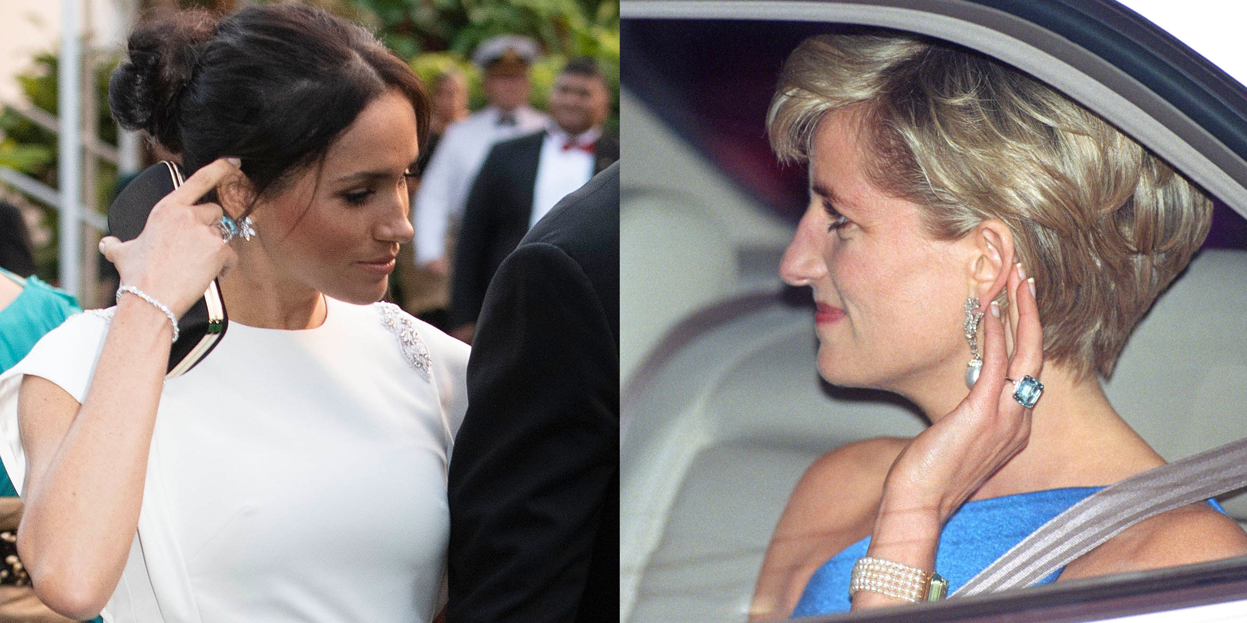 see meghan markle in princess diana s aquamarine cocktail ring on royal tour in tonga aquamarine cocktail ring on royal tour