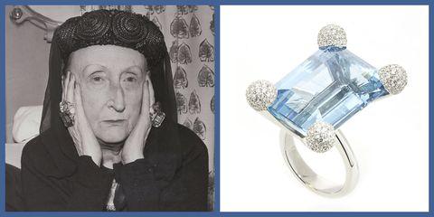 ring, Edith Sitwell, jewelry, aquamarine, Sidney Garber
