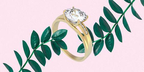 Green, Jewellery, Engagement ring, Ring, Fashion accessory, Leaf, Diamond, Plant, Wedding ceremony supply, Gemstone,