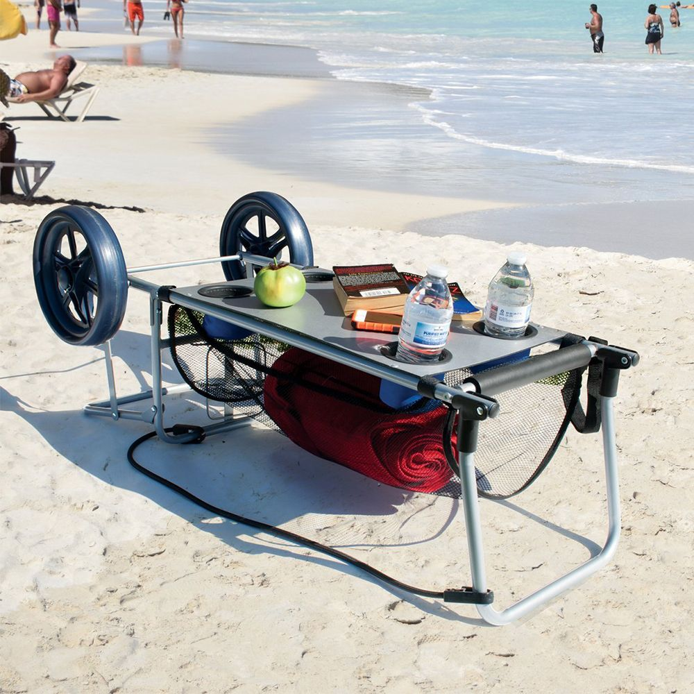 This Beach Cart Doubles as a Table, So You'll Have the Perfect Setup in the Sand