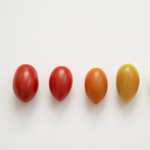 Ripening stages of grape tomato with shine