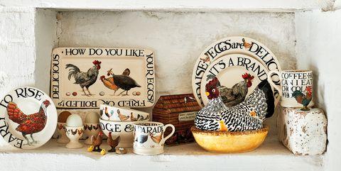 Rooster, Chicken, Shelf, Ceramic, Livestock, Galliformes, Bird, Furniture,