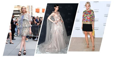 Fashion model, Clothing, Dress, Fashion, Haute couture, Fashion design, Runway, Gown, Shoulder, Footwear,