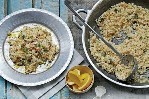 risotto de cangrejo, limón y alga dulse