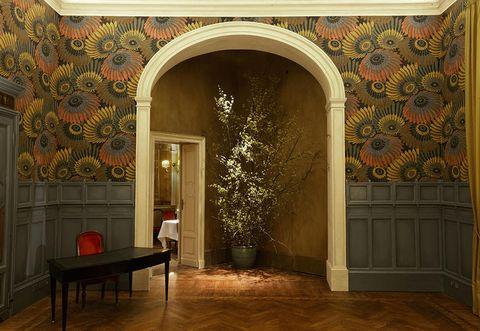 Arch, Property, Interior design, Building, Wall, Room, Architecture, Wallpaper, Art, Visual arts,