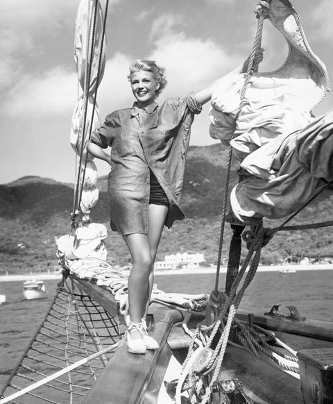 rita hayworth enjoying boat